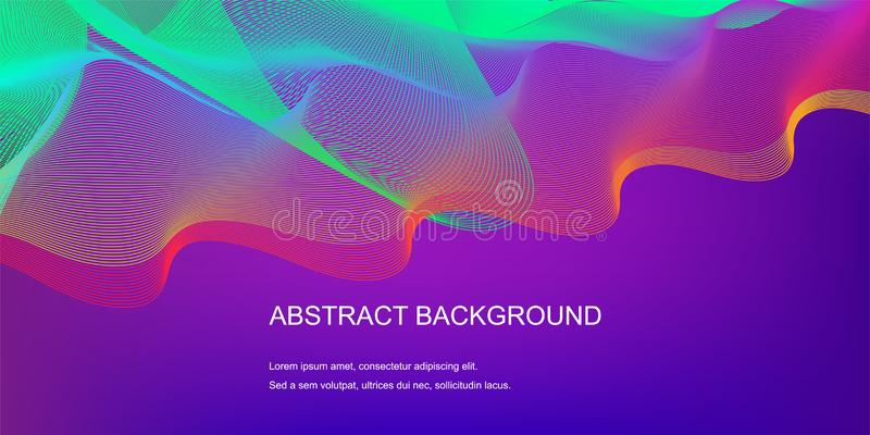 Gradient abstract background with dynamic linear waves royalty free illustration