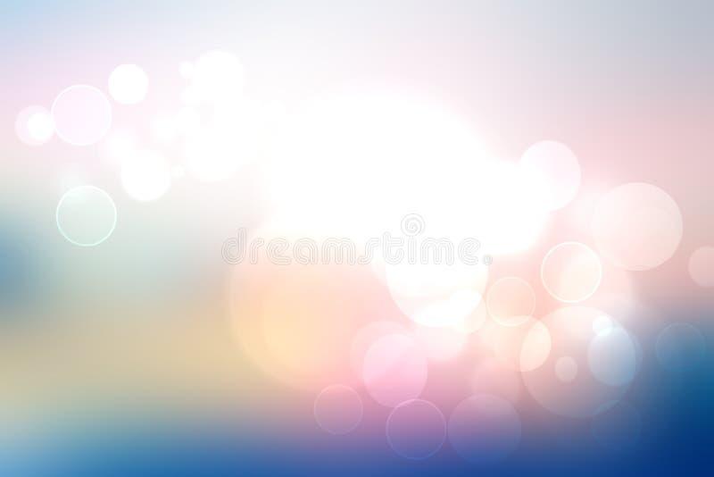 Gradient abstrait de texture légère en pastel bleue rose de fond avec les lumières circulaires rougeoyantes de bokeh Beau ressort illustration stock