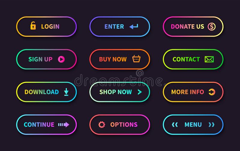 Gradient action buttons. Flat web submit form, modern transition sign, game navigation ui design element. Vector. Gradient button set stock illustration