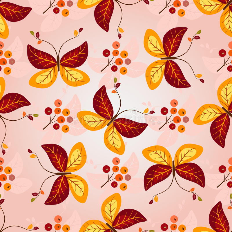 Gradient autumn seamless pattern royalty free illustration
