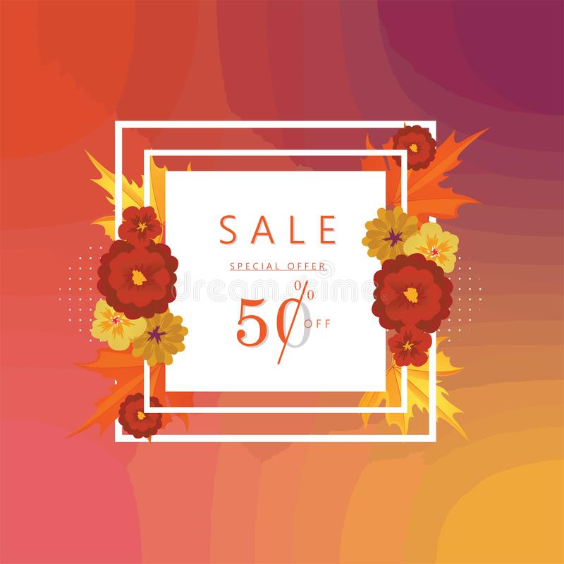 Gradient Autumn Special Offer bannière de vente au rabais de 50 pour cent et illustration de vecteur de fond illustration de vecteur