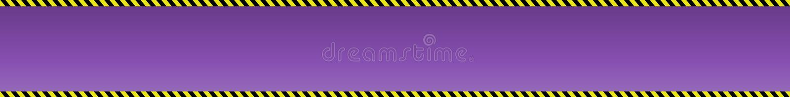 Purple  background with banner with borders from black and yellow construction signal tape royalty free stock image