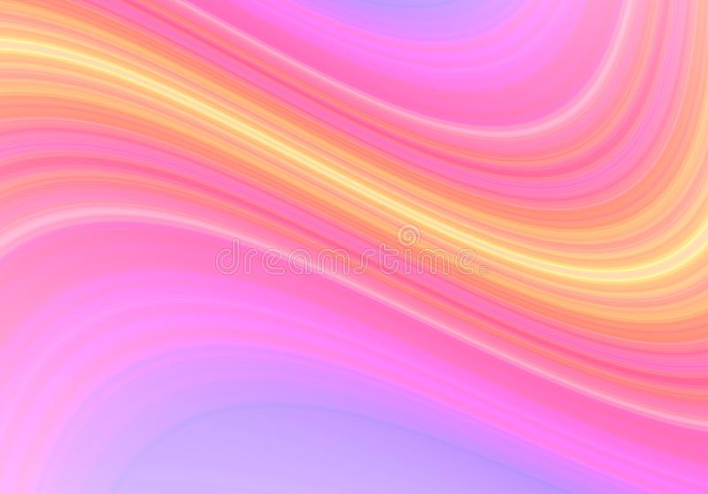 Gradient background, with wavy stripes of pink -yellow shades, on blue backlight. Abstract gradient background, with wavy stripes of pink -yellow shades, on blue royalty free illustration