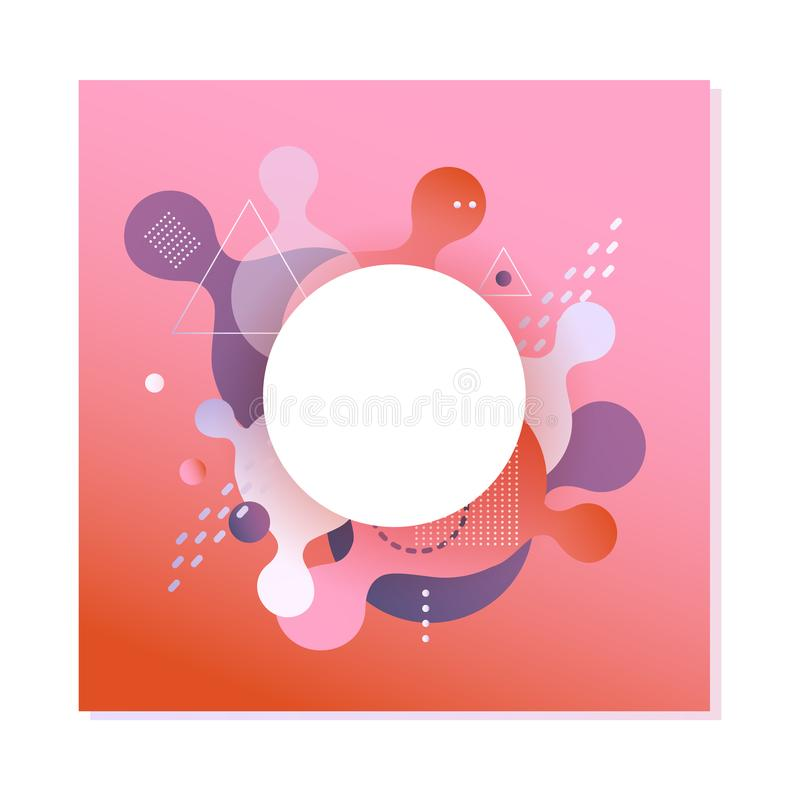 Gradient banner with fluid color abstract geometric and bubble shapes on red background. royalty free illustration