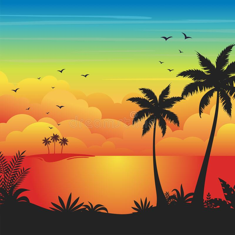 Free Gradient Beach Sunset Landscape Background With Silhouette Of Palm Trees Stock Photography - 180661412