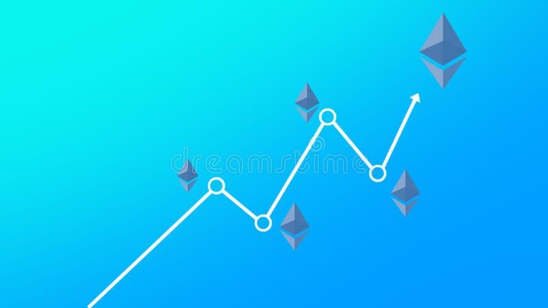 Gradient bleu de fond de tendance à la hausse de diagramme de concept d'Ethereum illustration de vecteur