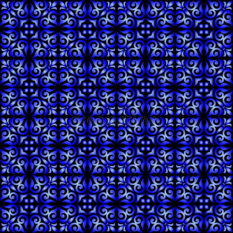 Gradient bleu sur le fond sans couture de modèle de répétition de rouleau ornemental noir illustration stock