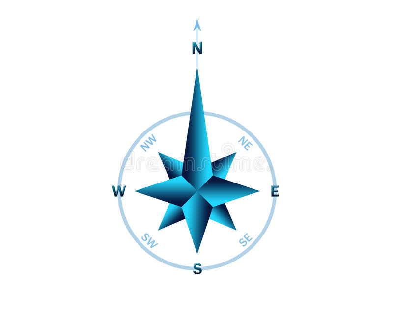 Gradient blue rose wind stock illustration