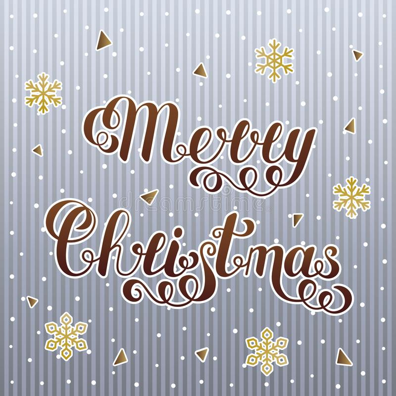 Gradient Brown Merry Christmas Text Isolated on Striped Grey Background with Snowflakes. Lettering Christmas Concept royalty free illustration