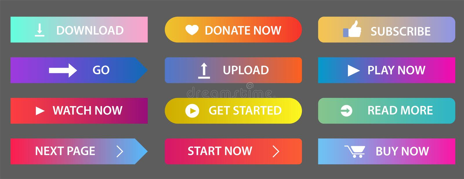 Gradient buttons. Rectangular next page button, read more and add to cart icon colorful gradients web icons. vector illustration