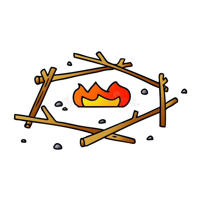 Gradient cartoon doodle of a camp fire. A creative illustrated gradient cartoon doodle of a camp fire stock illustration