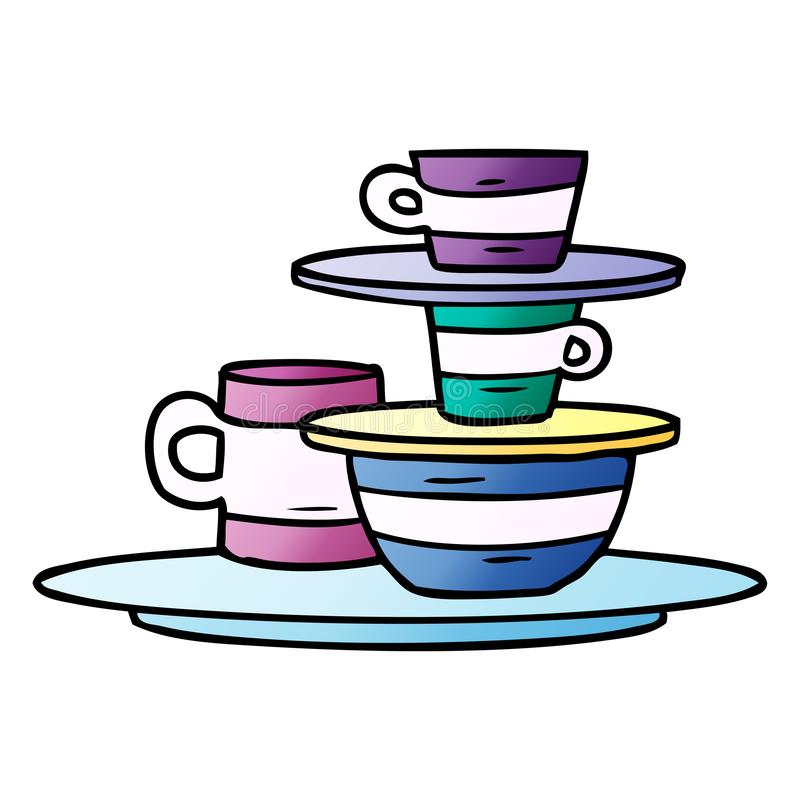 Gradient cartoon doodle of colourful bowls and plates. A creative illustrated gradient cartoon doodle of colourful bowls and plates vector illustration