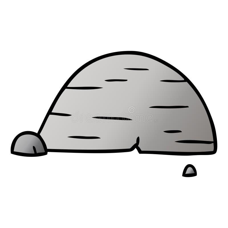Gradient cartoon doodle of grey stone boulder. A creative illustrated gradient cartoon doodle of grey stone boulder royalty free illustration