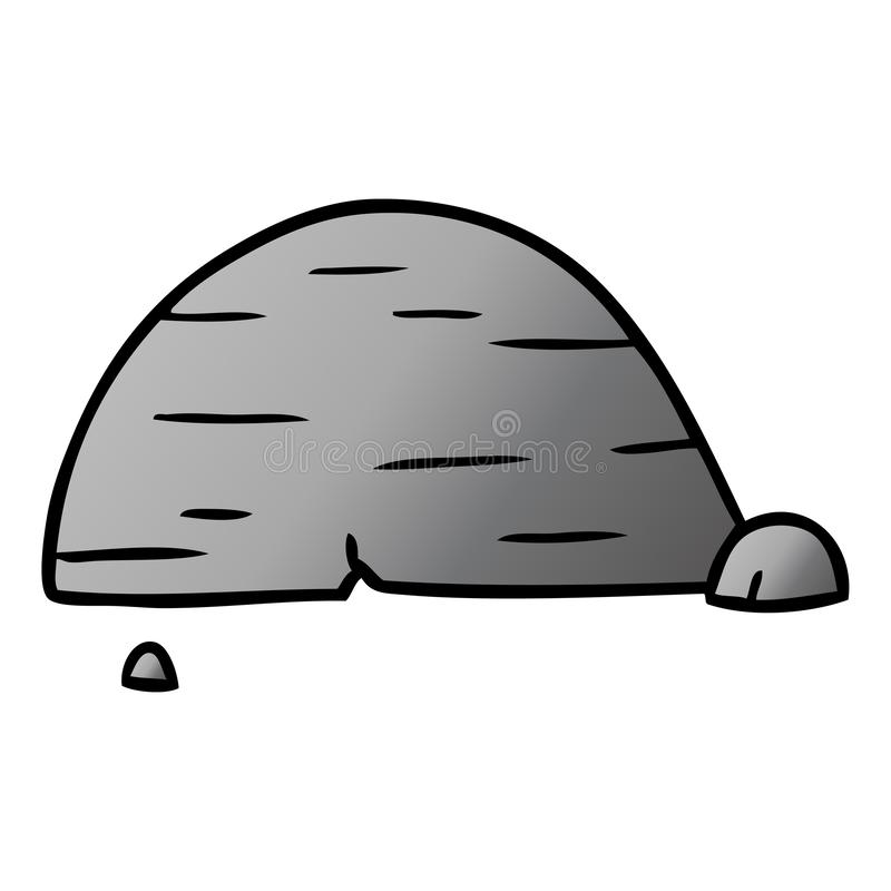 Gradient cartoon doodle of grey stone boulder. A creative illustrated gradient cartoon doodle of grey stone boulder vector illustration