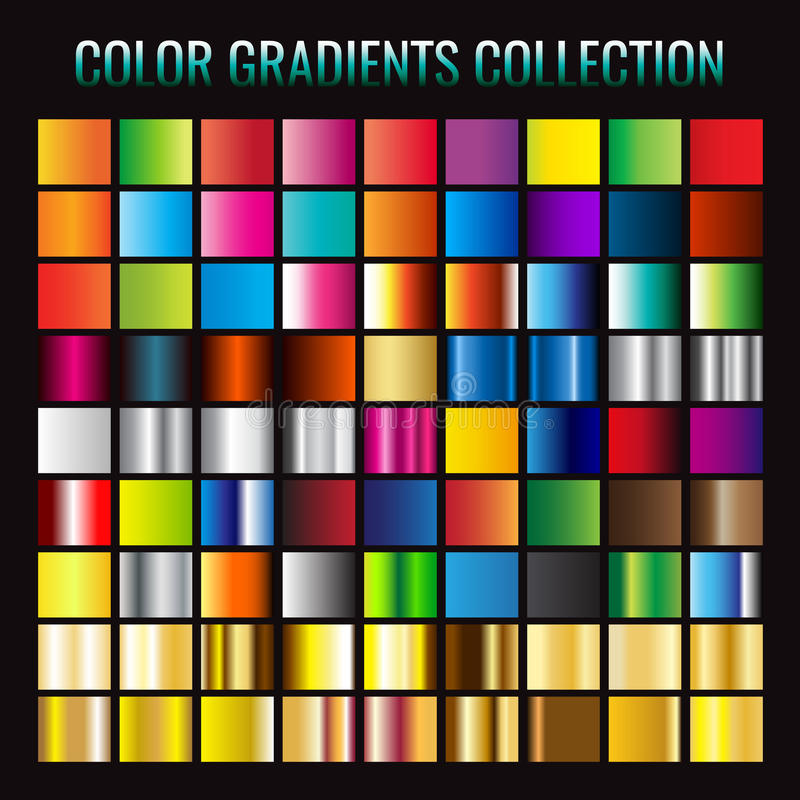 Gradient collection. Vector illustration. on black background vector illustration
