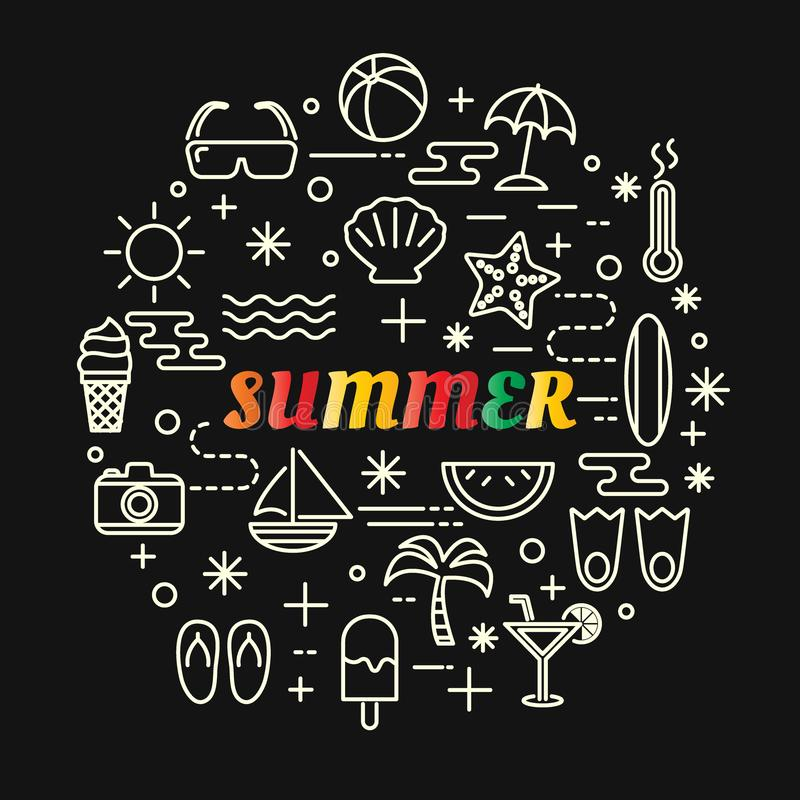 Gradient coloré d'été avec la ligne icônes réglées illustration libre de droits
