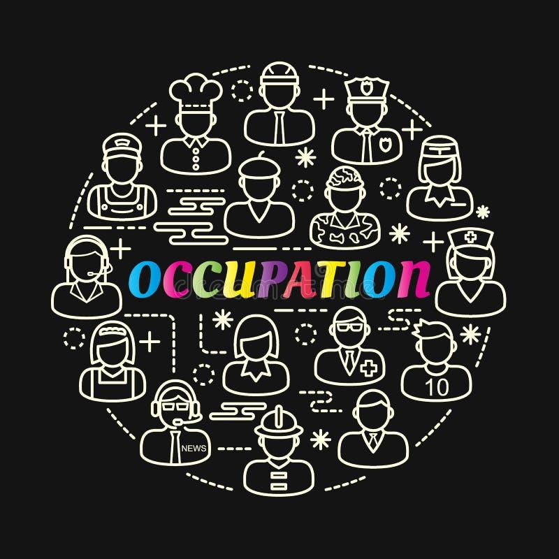Gradient coloré de profession avec la ligne icônes réglées illustration stock