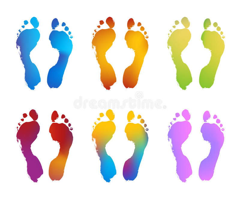 Download Gradient Color Footprints stock vector. Illustration of barefoot - 21223880
