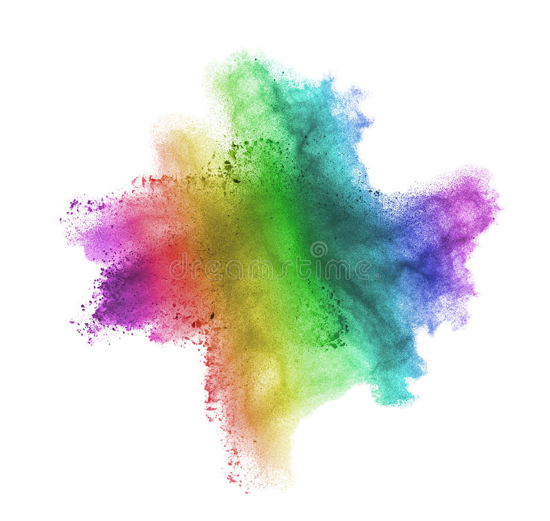 Gradient colorful powder splash isolated on white background royalty free stock photos
