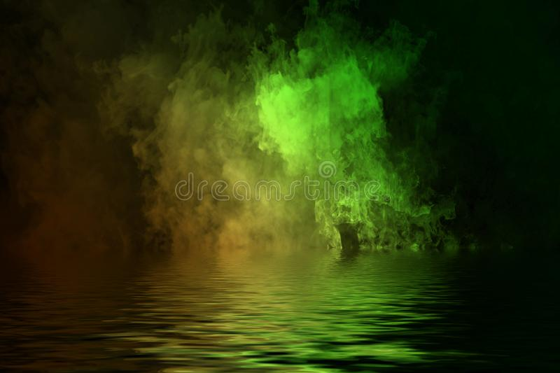Gradient duo tone smoke with reflection in water. Yellow and Green fog texture. Design element texture. Gradient duo tone smoke with reflection in water. Yellow royalty free illustration