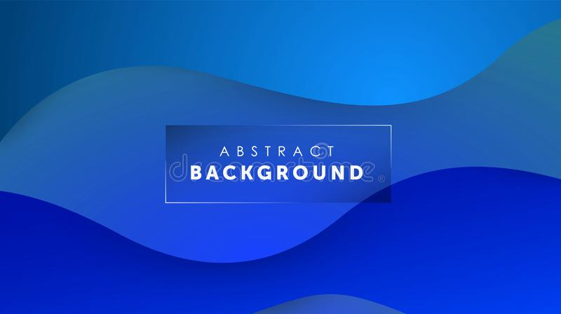 Gradient fluid blue color background. Liquid shapes futuristic concept. Creative wavy wallpaper. Design for Banners stock illustration