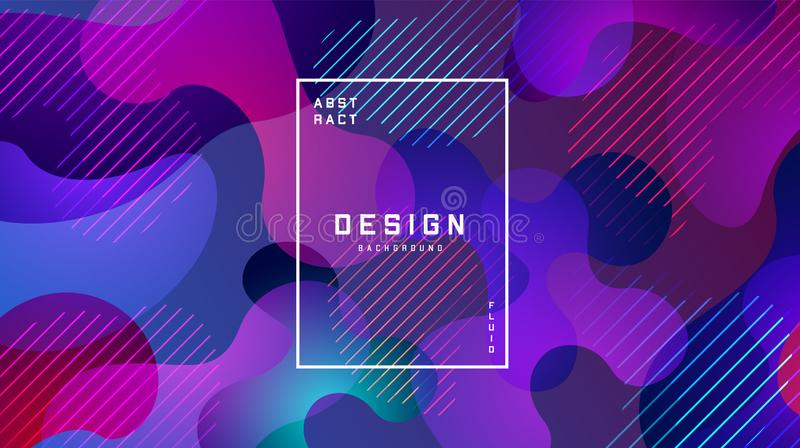 Gradient fluid colorful background. Liquid shapes futuristic concept. Creative geometric wallpaper. Design for Banners royalty free illustration
