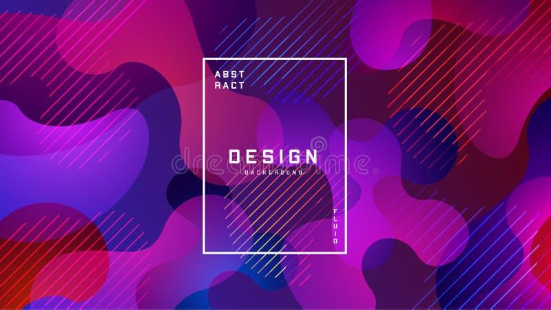 Gradient fluid colorful background. Liquid shapes futuristic concept. Creative geometric wallpaper. Design for Banners stock illustration