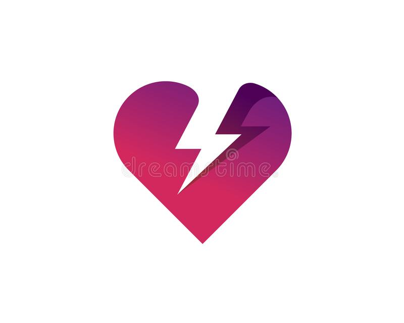 Gradient heart love symbol with negative space lightning thunder striking through. Gradient style purple heart love symbol with negative space lightning thunder royalty free illustration