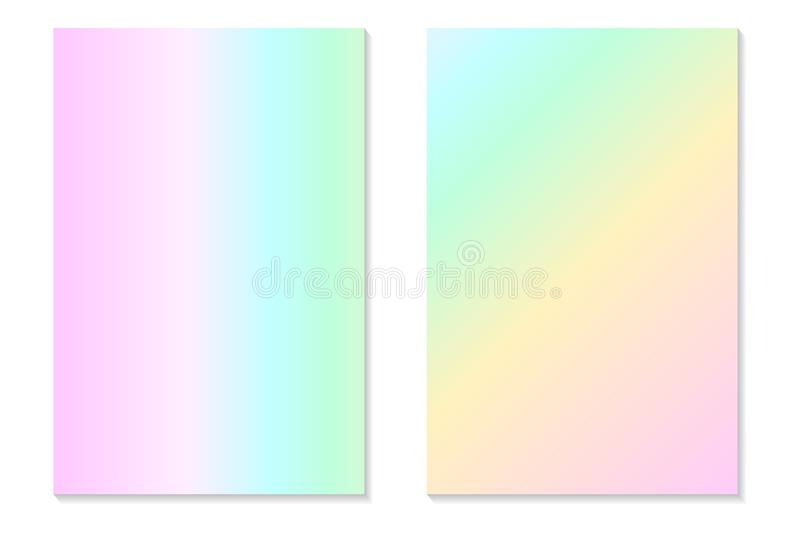 Gradient Hologram Backgrounds. Set of colorful holographic posters in retro style. Vibrant neon pastel texture. royalty free illustration