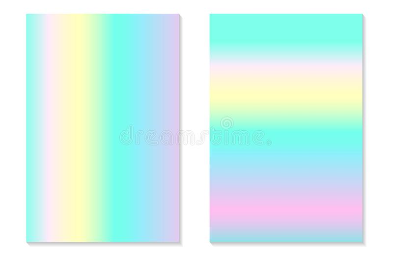 Gradient Hologram Backgrounds. Set of colorful holographic posters in retro style. Vibrant neon pastel texture. Vector gradient. Gradient Hologram Backgrounds stock illustration