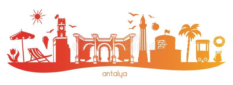 Gradient horizontal de composition d'Antalya long illustration de vecteur