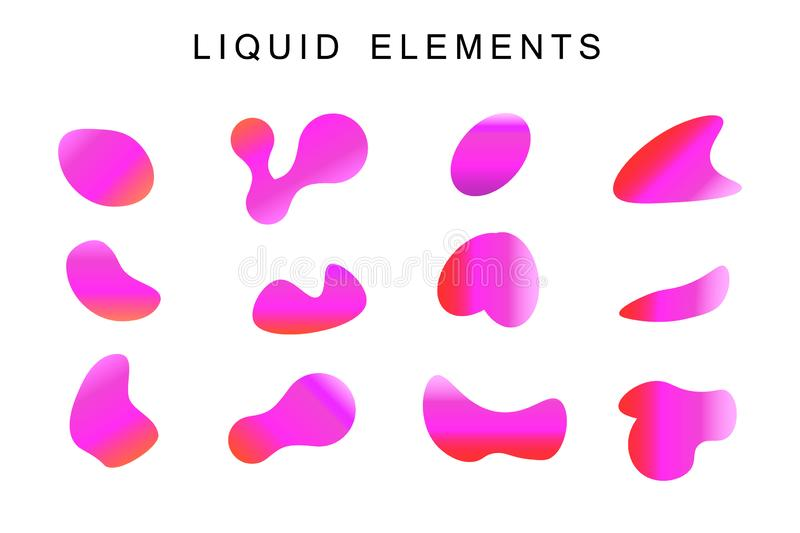 Gradient iridescent shapes. Set stock illustration