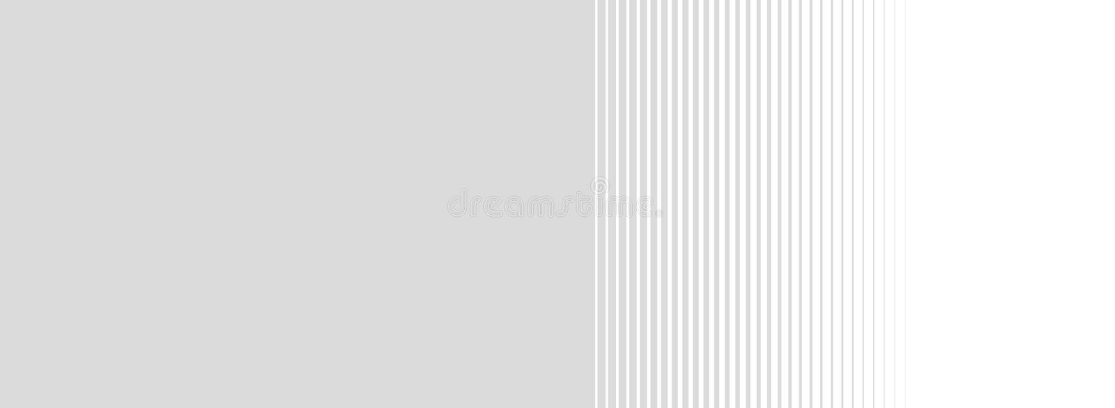 Gradient light grey background with stripes. Wide light grey background with gradient stripes stock illustration