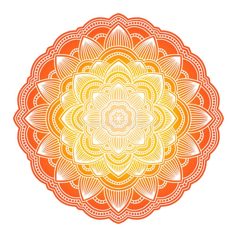 Gradient mandala. Circle ethnic ornament. Hand drawn traditional indian round element. Spiritual meditation yoga henna vector illustration