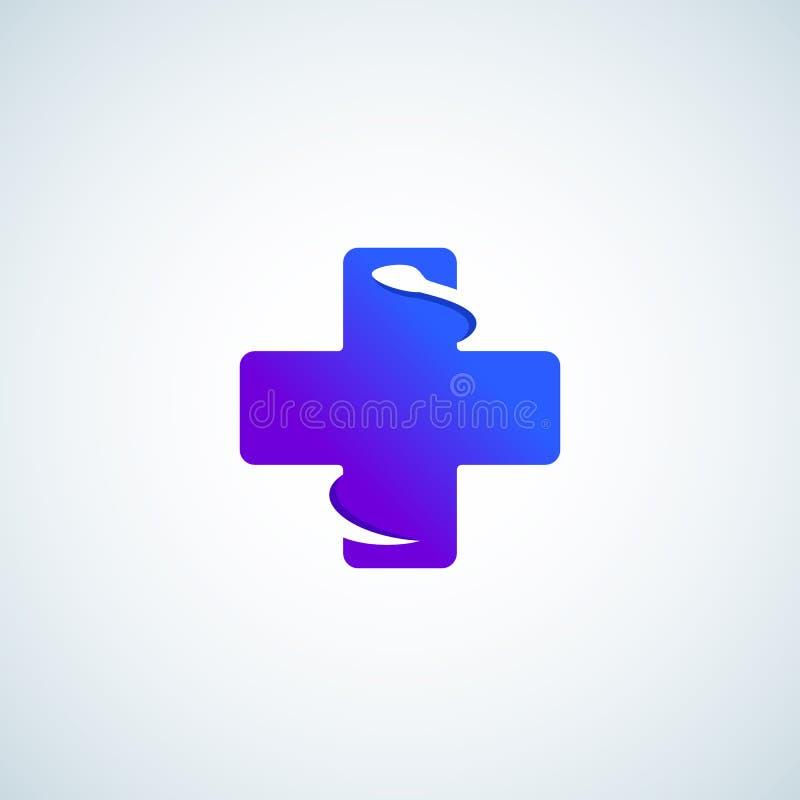 Gradient moderne plus ou croix avec le serpent négatif de l'espace Signe, emblème, icône ou Logo Template abstraite de vecteur illustration libre de droits