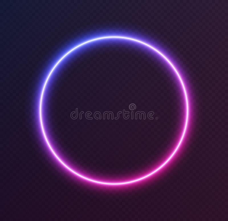 Free Gradient Neon Circle, Blue-pink Glowing Border Isolated On A Dark Background. Colorful Night Banner Stock Images - 194924984
