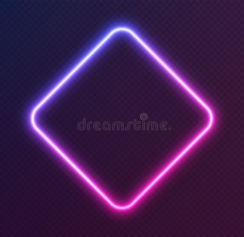 Free Gradient Neon Rhombus, Blue-pink Glowing Border Isolated On A Dark Background. Colorful Night Banner Stock Photography - 195583272