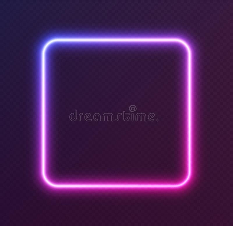 Free Gradient Neon Square, Blue-pink Glowing Border Isolated On A Dark Background. Colorful Night Banner Stock Photos - 195583253