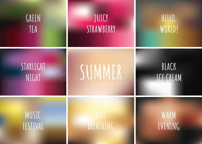 Gradient pattern set collection background with text. Summer concept design. Vector illustration.  royalty free illustration