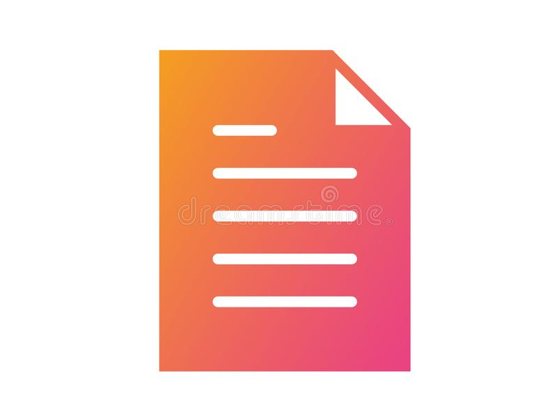 Gradient pink to orange vector interface work file document flat icon vector illustration