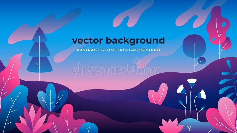 Gradient plant landscape. Flat jungle spring trees with copy space, vibrant nature copy frame. Vector gradient landscape vector illustration