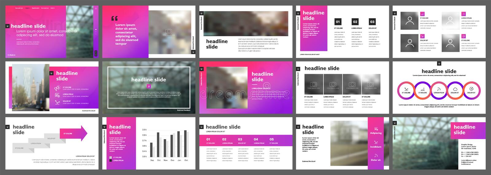 Gradient presentation templates elements on a white background. royalty free illustration