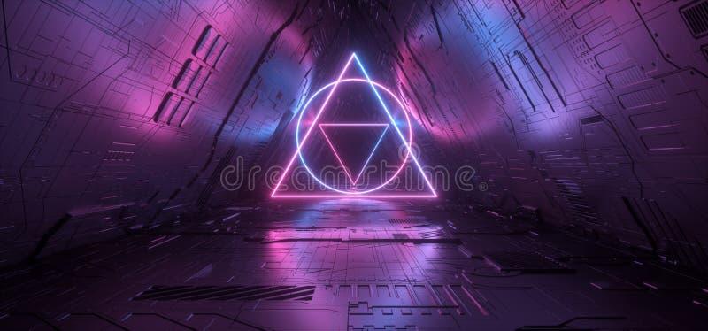 Gradient rougeoyant au néon schématique futuriste de laser de cercle de triangle de Matrix Chip Texture Reflective Gate Portal de illustration libre de droits