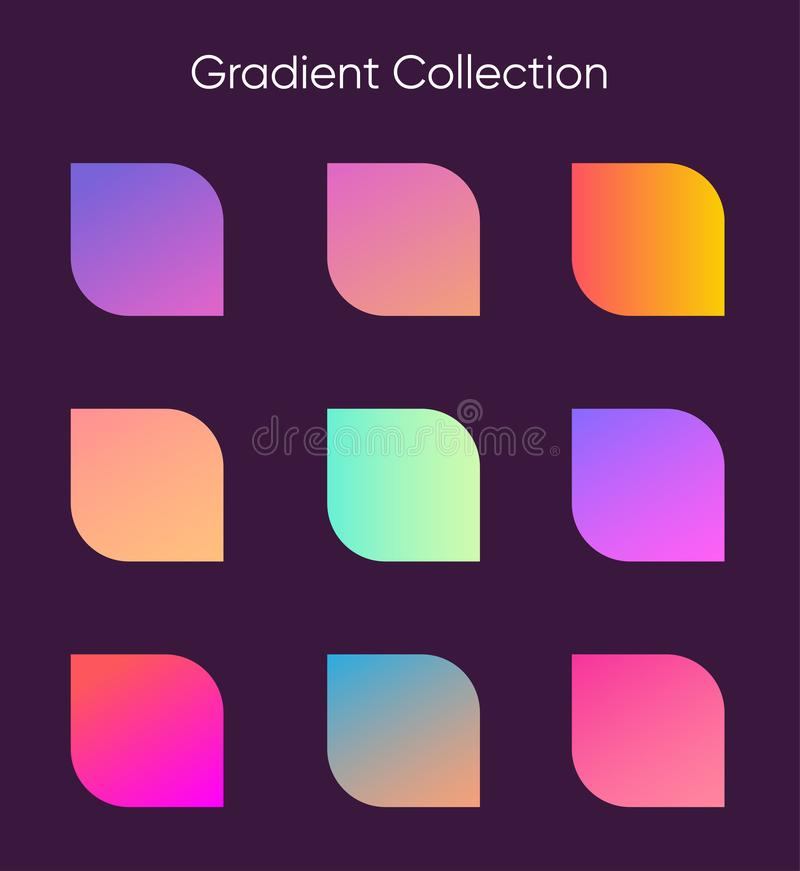 Beautiful Geometric Gradient Flyer Set Collection Stock