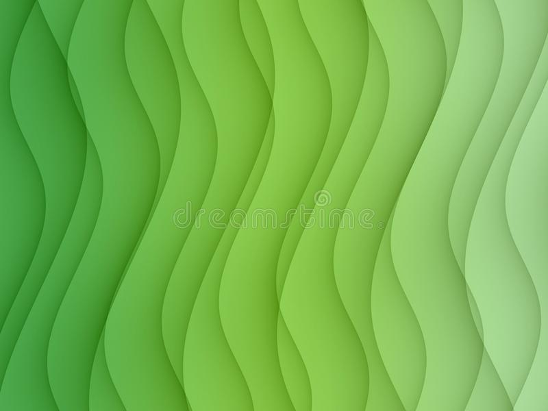 Gradient shades of green horizontal curves lines abstract background design stock illustration