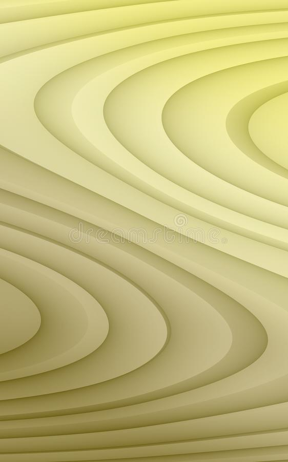 Gradient shades of pale yellow and tan beige soft flowing curves abstract wallpaper background illustration royalty free illustration