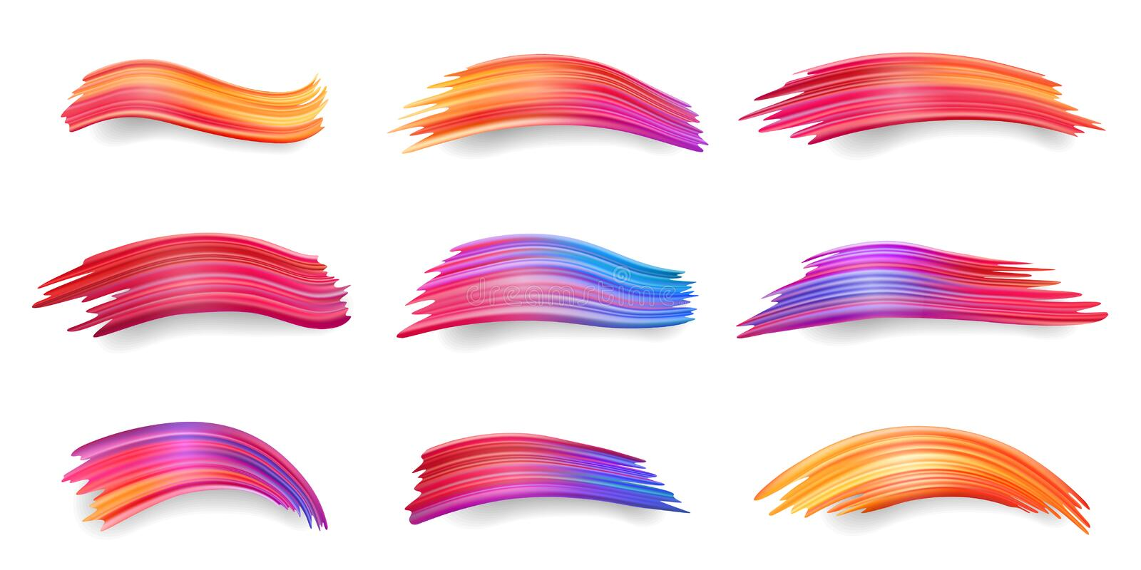 Gradient smears or colorful brushstrokes, paint stock illustration