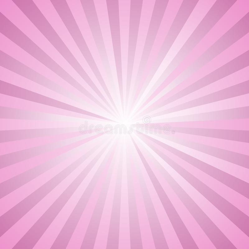 Gradient star burst background - retro vector graphic design from radial striped rays in pink tones. Gradient abstract star burst background - retro vector royalty free illustration