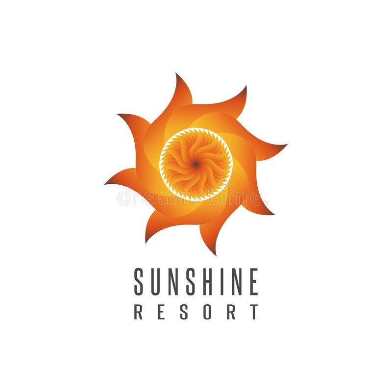 Gradient sun logo resort mockup abstract creative emblem, sunshine energy tech icon stock illustration