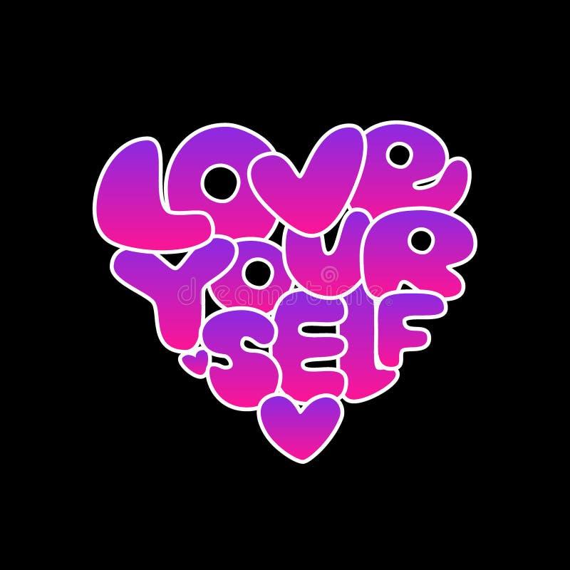 Gradient tiré par la main de l'amour vous-même mignon marquant avec des lettres l'expression à la mode d'affirmation dans le styl illustration stock